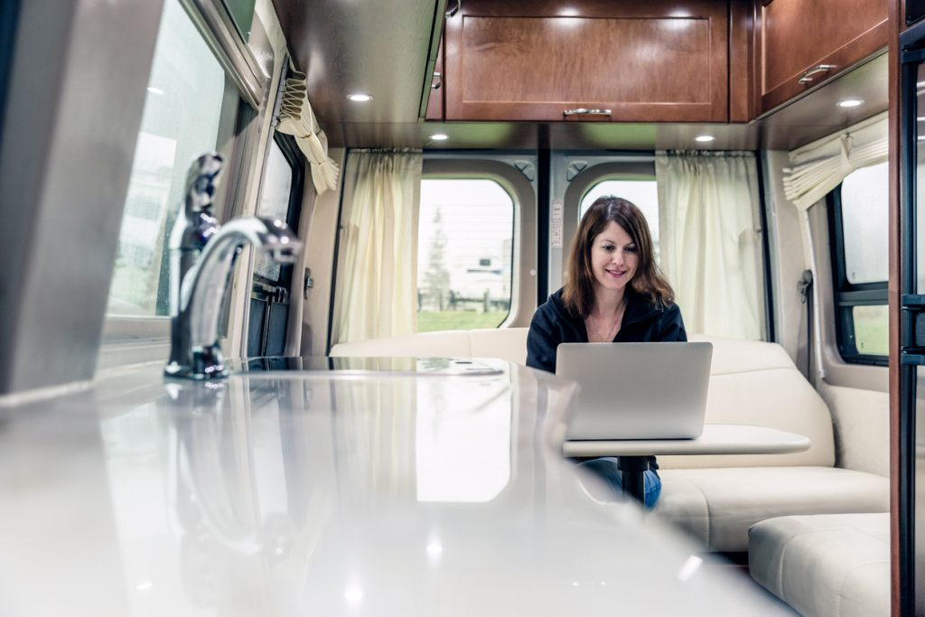 woman working in RV