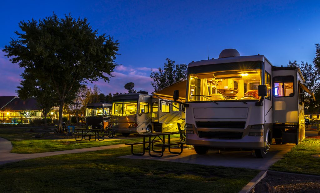 RV travel planning includes finding a campsite