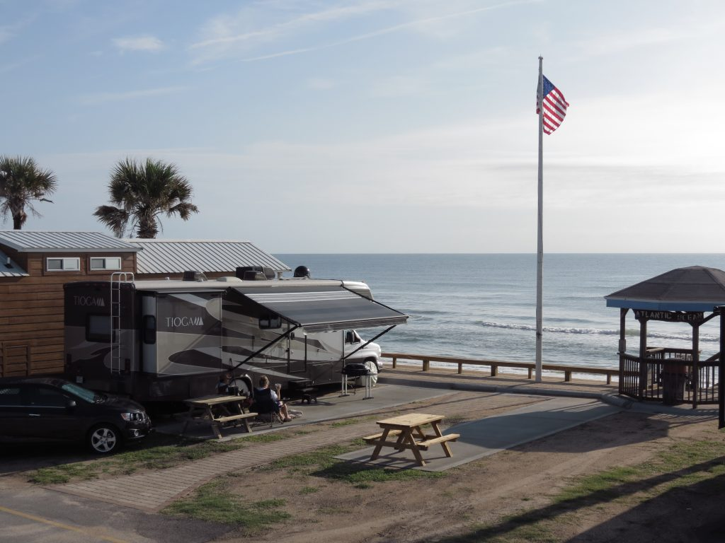 RV parked at Beverly Beach, one of the best oceanfront RV parks
