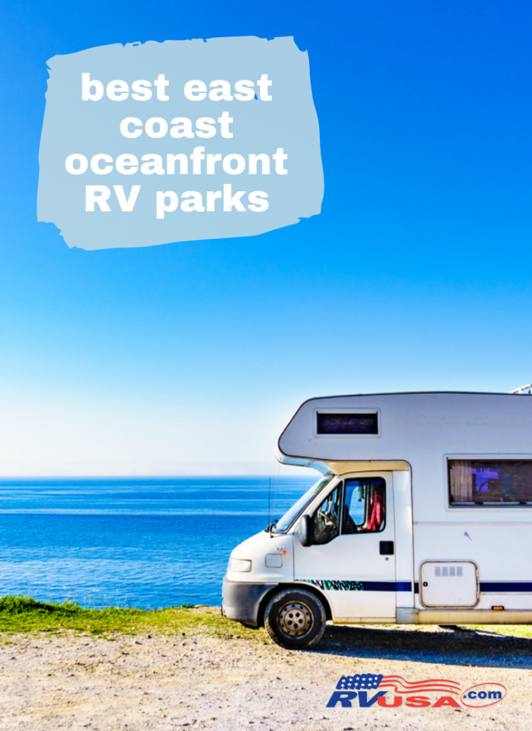 RV pulls up to an oceanfront RV park