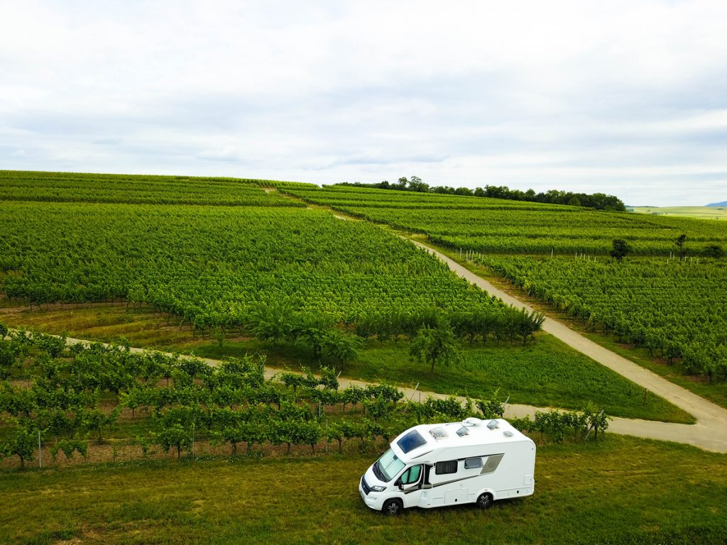 RV parked in front of winery