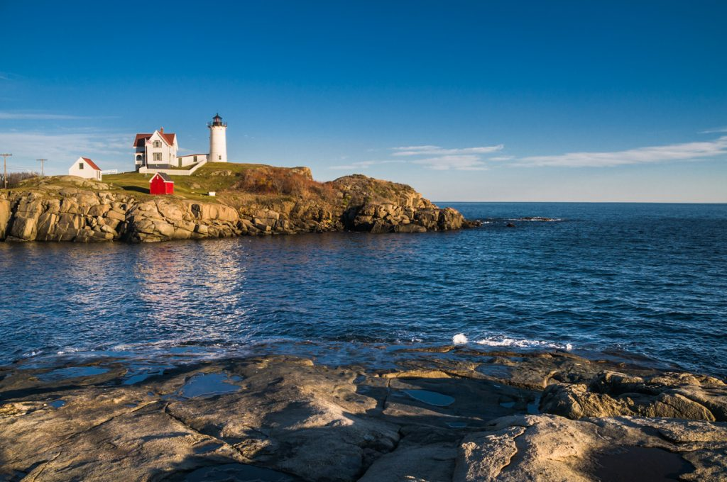 Nubble Light near this beach front campground