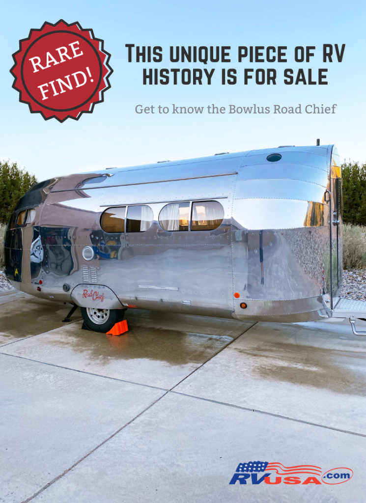 A Bowlus Road Chief for sale sits on display